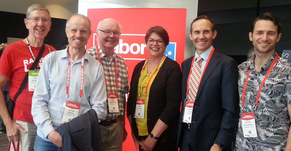 Dec 2018 National Conference, Adelaide. Independents & Open Labor delegates L–R: Jamie Gardiner, James Button; Jamie Button, Eric Dearricott, Linda Condon, Andrew Leigh ACT and Tim Kurylowicz from NSW